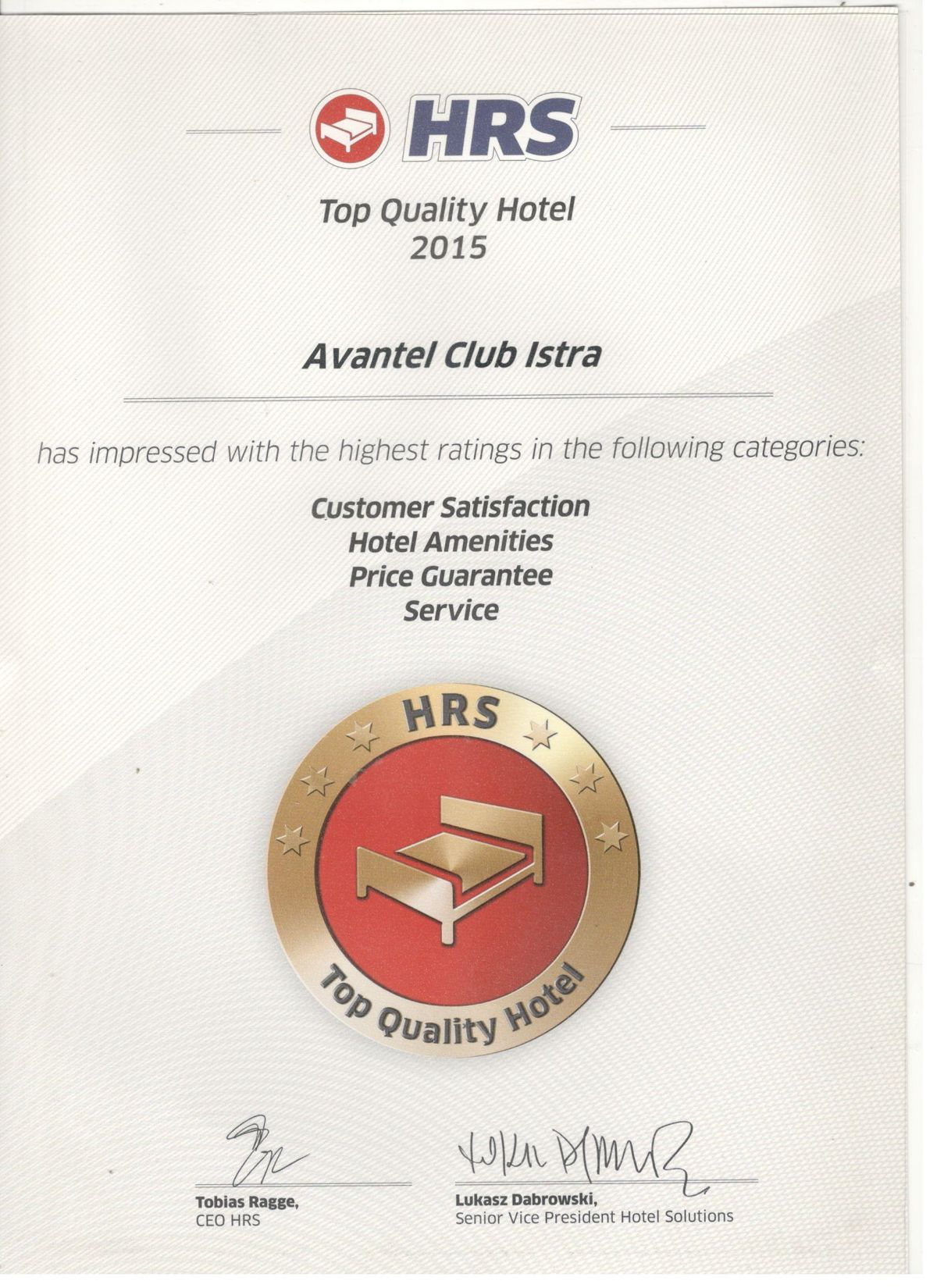 HRS, Top Quality Hotel 2015
